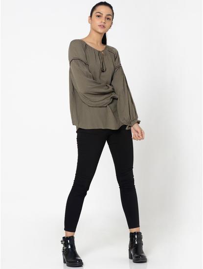 Olive Green Self Design Shirt