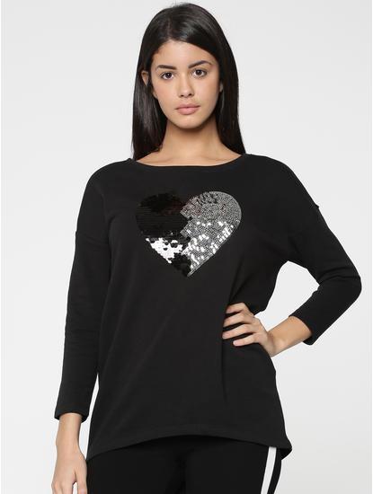 Black Sequinned Heart Print Sweater