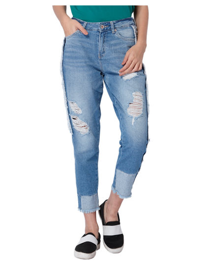 Blue Frayed Detail Mid Rise Relaxed Fit Jeans