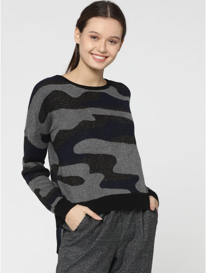 Dark Blue Abstract Print Shimmery Pullover
