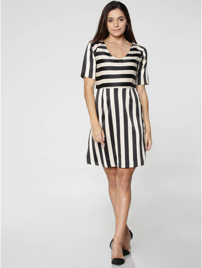 Black And White Stripped Mini Dress