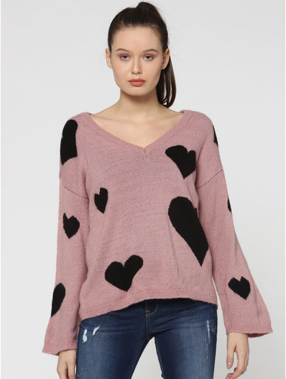 Pink Heart Print Sweater