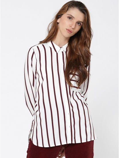 White Stripped Long Sleeves Shirt