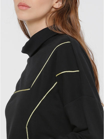 Black with Gold Piping High Neck Sweatshirt