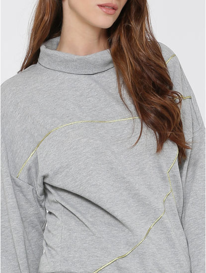 Grey With Gold Piping High Neck Sweatshirt