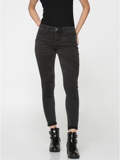 Black Mid Rise Skinny Fit Ankle Length Jeans