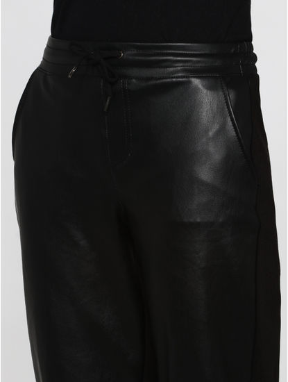 Black Mid Rise Faux Leather Mix Drawstring Comfort Fit Pants