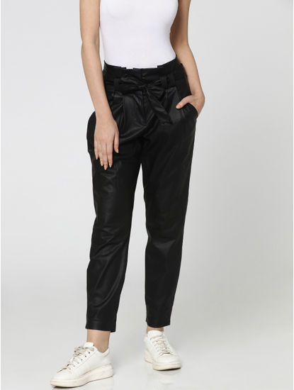 Black High Rise Paper Bag Waist Comfort Fit Pants