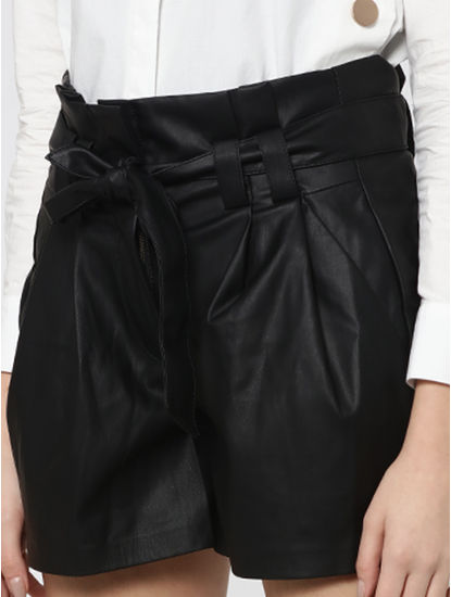 Black Mid Rise Paper Bag Waist Faux Leather Shorts