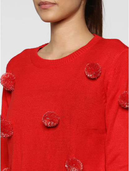 Red Pom Pom Detail Pullover