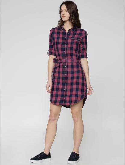 Blue Checks Waist Tie Up Shirt Dress