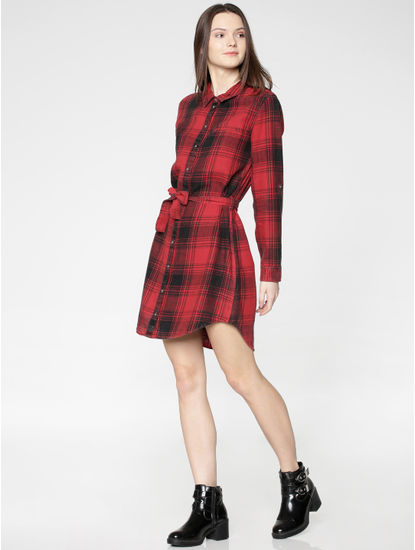 Red Checks Waist Tie Up Shirt Dress