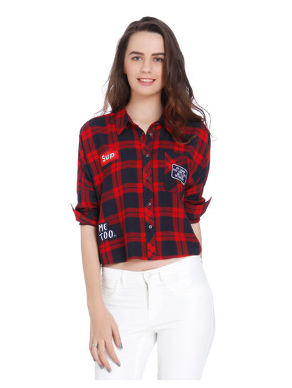 Red Badge Print Check Shirt