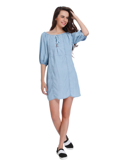 Blue Lace Up Off Shoulder Mini Dress