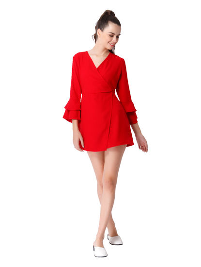 Red Bell Sleeves Jumpsuit