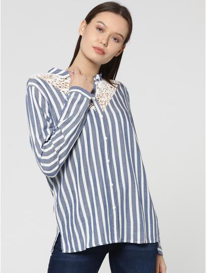 White Striped Lace Insert Shirt