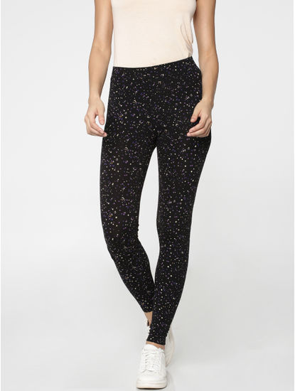 Black All Over Print Mid Rise Slim Fit Leggings