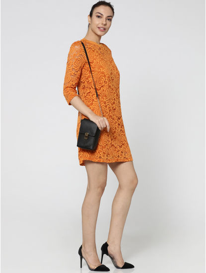 Orange Lace Circular Knit Fit & Flare Dress