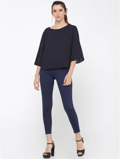 Dark Blue Dotted Flared Sleeves Top