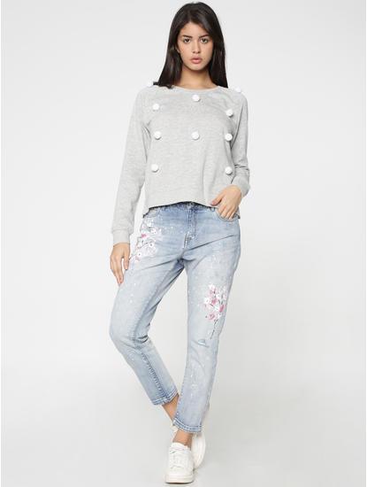 Grey Pom Pom Detail Sweatshirt