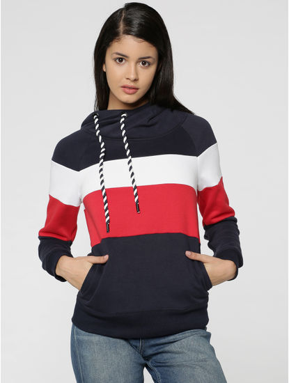 Dark Blue Colourblocked Hooded Sweatshirt