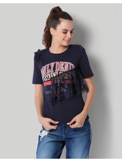 Dark Blue Graphic Print Lace Detail T-Shirt