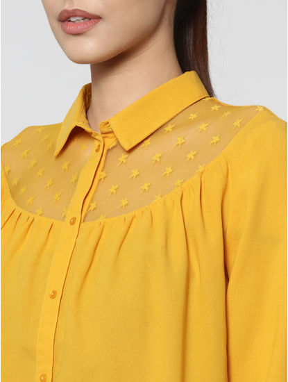 Yellow Star Mesh Insert Shirt