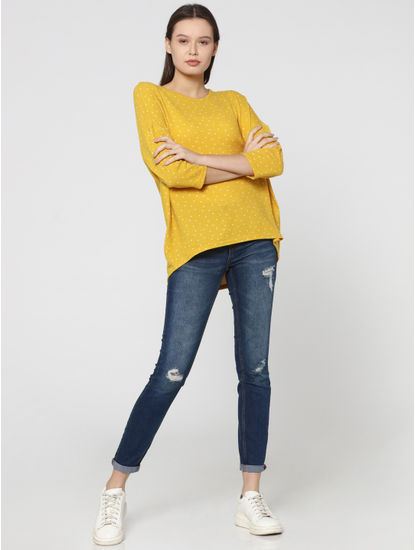 Yellow All Over Heart Print High Low T-Shirt