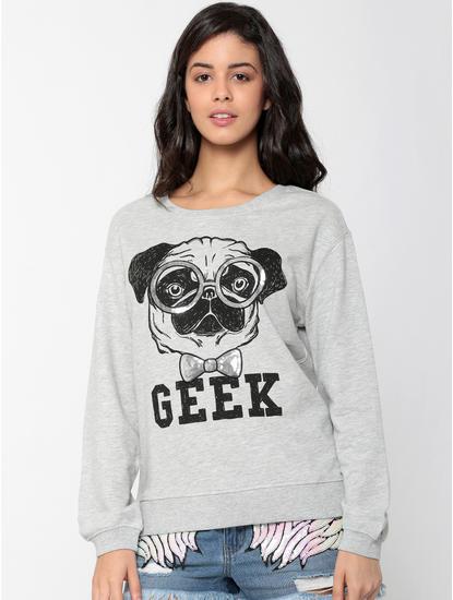 Grey Pug & Text Print Sweatshirt