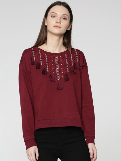 Maroon Embroidered Sweatshirt