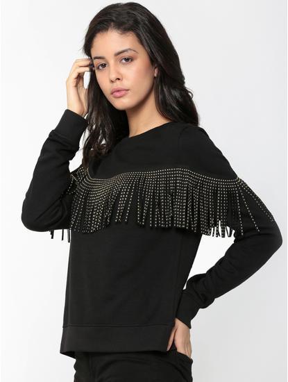Black Fringe Detail Sweatshirt