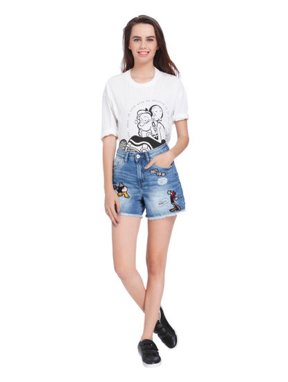 X Popeye Blue Popeye And Olive Oyl Print Mid Rise Slim Fit Denim Shorts