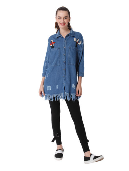 X Popeye Graphic Print Loose Fit Denim Shirt