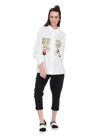 X Popeye White Popeye Text Print Loose Fit Shirt