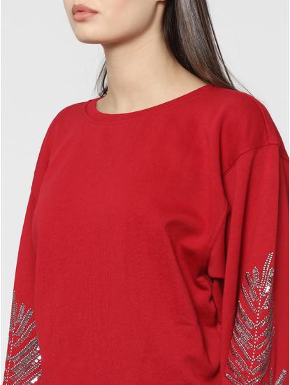 Red Sequinned Balloon Sleeves Sweatshirt