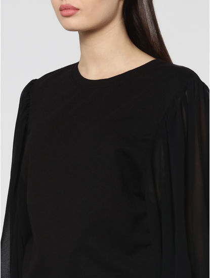 Black Sheer Sleeves Sweatshirt