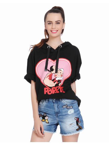 X Popeye Black Heart Print Sweatshirt