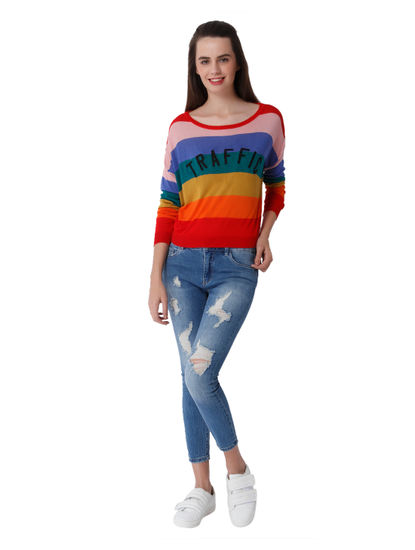 Multi Coloured Text Print Pullover