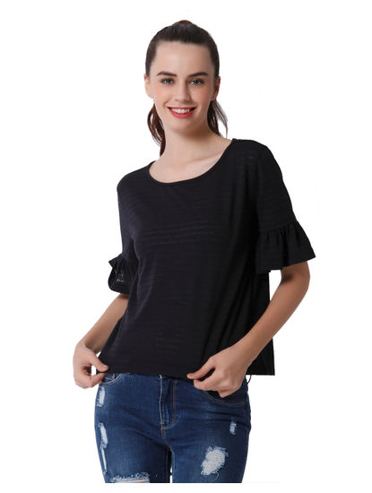 Dark Blue Ruffle Sleeves T-Shirt