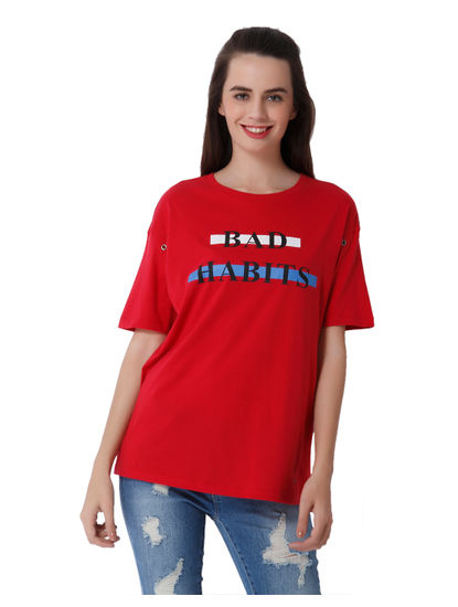 Red Text Print T-Shirt