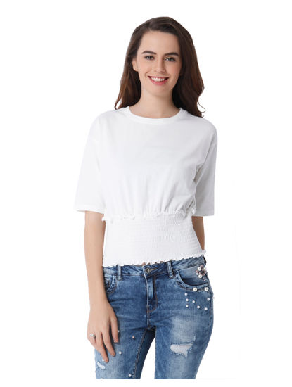 White Elasticized Waist Top
