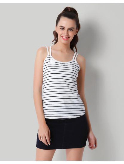 White Striped Tank Top