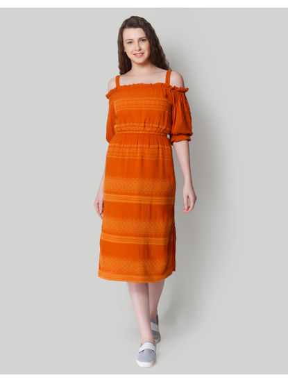 Orange Self Design Cold Shoulder Midi Dress