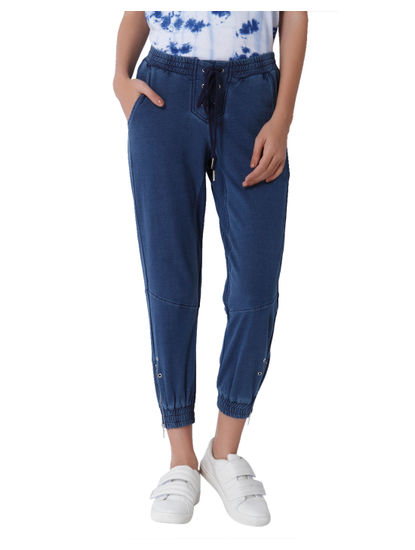 Blue Mid Rise Ankle Length Joggers