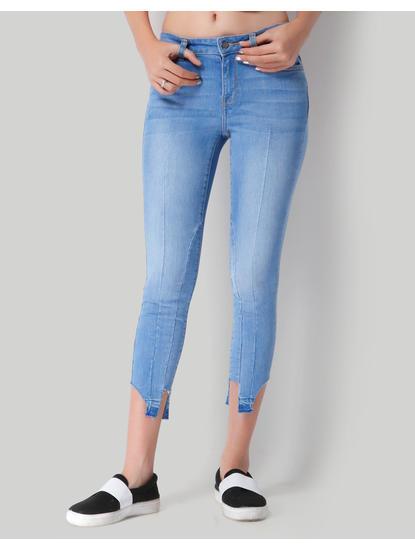 Blue Mid Rise Ankle Split Skinny Jeans
