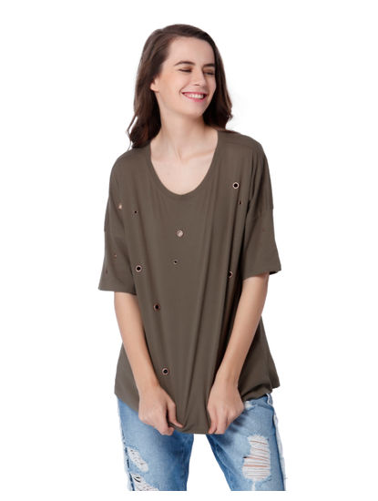 Olive Green Eyelet Detail Top