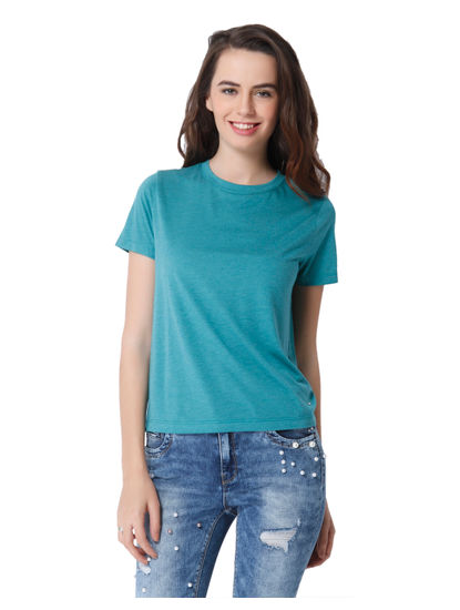 Turquoise Text Print T-Shirt