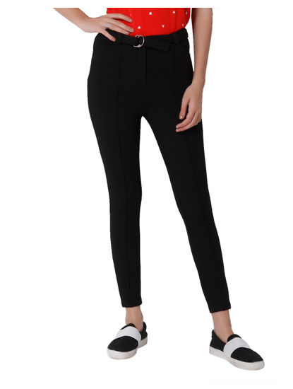 Black Mid Rise Skinny Fit Leggings