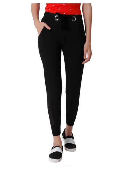Black Mesh Detail Mid Rise Slim Fit Leggings