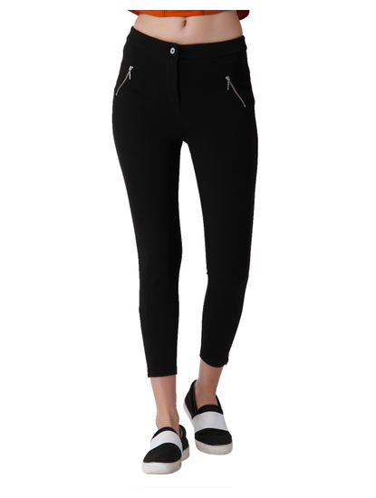 Black Ankle Zip Detail Mid Rise Slim Fit Leggings